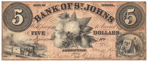 1859 $5 Bank of St. Johns $5 Jacksonville, Florida FL-30-G2b ~ Very Fine