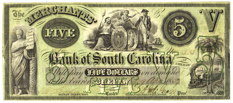 1859 Merchants Bank of South Carolina at Cheraw $5 G4a Cheraw, SC ~ Very Fine