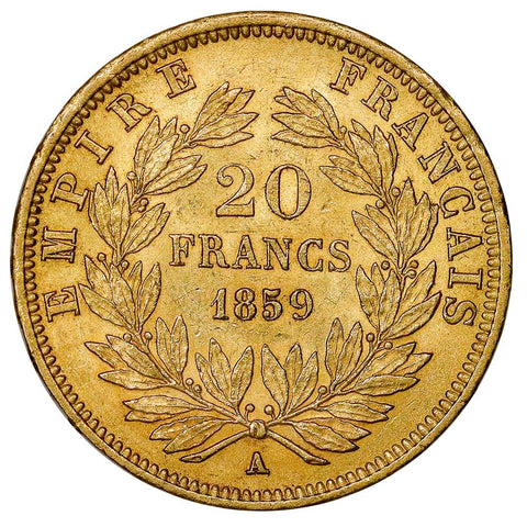 1859-A French Napoleon 20 Franc Gold Coin KM.781.1 - About Uncirculated