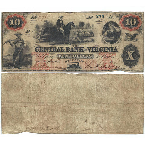 1860 $10 Central Bank of Virginia, Staunton Obsolete Bank Note - Fine