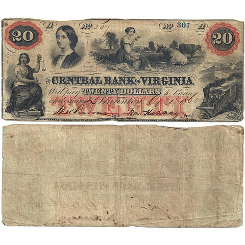 1860 $20 Central Bank of Virginia, Staunton Obsolete Bank Note - Fine