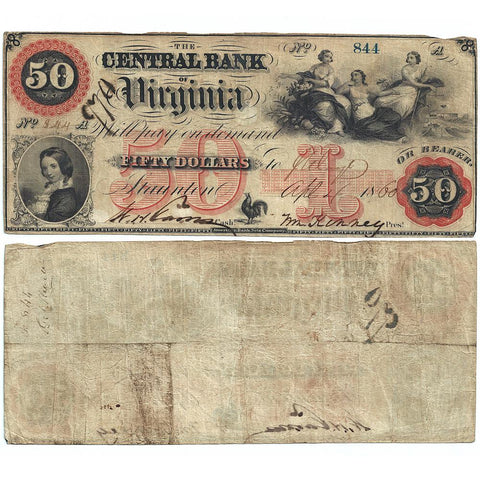 1860 $50 Central Bank of Virginia, Staunton Obsolete Bank Note - Fine