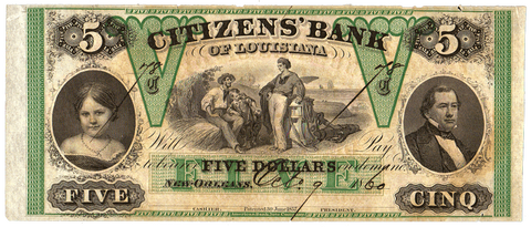 1860 $5 Citizens Bank of Louisiana Remainder LA-15-G14a ~ Net AU