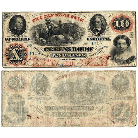 1860 $10 Farmers Bank of Greensboro NC - Haxby NC25-G8a - Very Fine