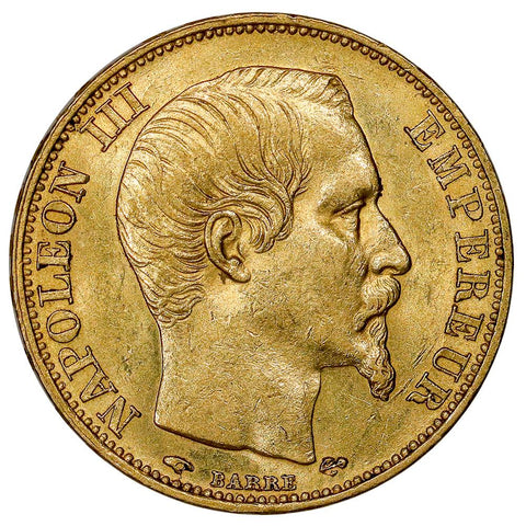 1860-A French Napoleon 20 Franc Gold Coin KM.781.1 - Choice About Uncirculated