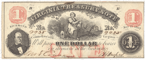 1862 $1 Virginia Treasury Note Cr.17 ~ Crisp Very Fine