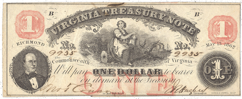 1862 $1 Virginia Treasury Note Cr.17 ~ XF/AU