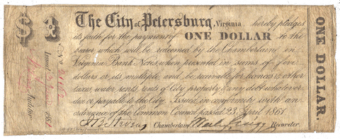 1861 $1 City of Petersburg, Virginia (Civil War Issue) ~ Fine/Very Fine