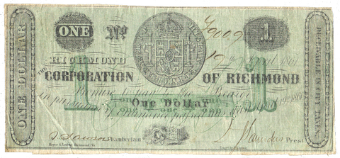 1861 $1 Corporation of Richmond, Virginia TR05-21 ~ Very Fine
