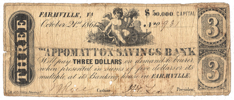 1861 $3 Appomattox Savings Bank Farmville Virginia BF15-20 ~ Very Good/Fine