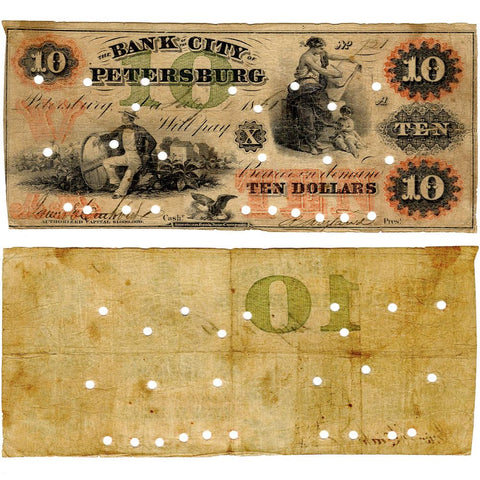 1861 $10 Bank of the City of Petersburg, Virginia (Civil War Issue) - Fine (PC)