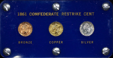"Bashlow Restrikes, (1961) ""1861"" Confederate Cents, Bronze, Goldine & Silver Set"