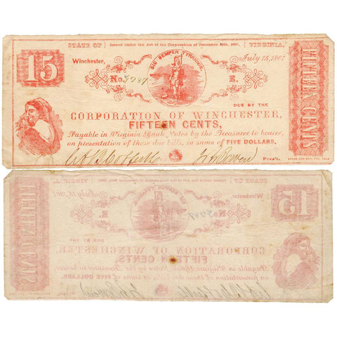 1861 15¢ Corporation of Winchester, VA Civil War Scrip - Fine (Lg Note Fractional)