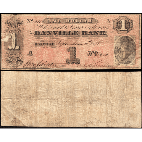 1861 $1 Danville Bank Civil War Emergency Issue, Virginia VA65-G10a - Very Good