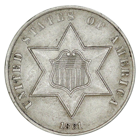 1860 Type-3 Three Cent Silver (Trime) - Choice About Uncirculated