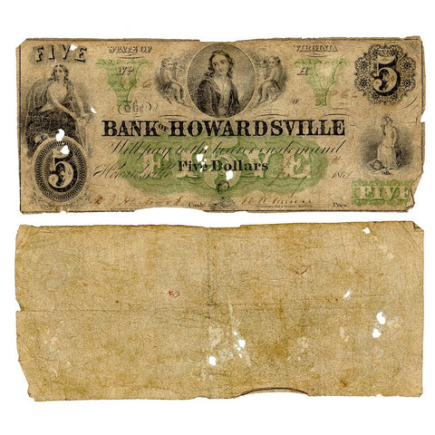 1861 $5 Bank of Howardsville, Virginia - Good