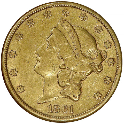 1861 Civil War Date $20 Liberty Gold Coin - NGC VF35
