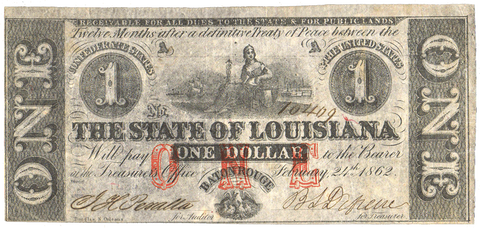 1862 $1 State of Louisiana (Civil War Issue) Cr.3 ~ Choice Very Fine+