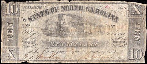 February 15, 1862 $10 State of North Carolina Note - Cr. 82 - Net Very Good/Fine
