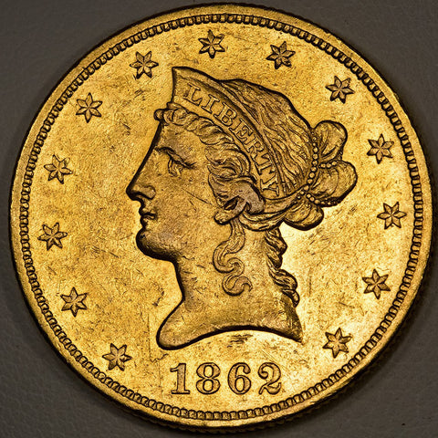 Scarce 1862 $10 Liberty Gold Coin ~ Mintage: 10,960 ~ About Uncirculated