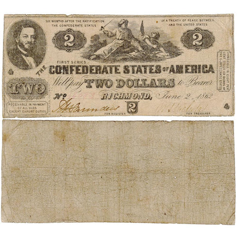 T-42 Jun. 2 1862 $2 Confederate States of America (C.S.A.) - Nice Very Good