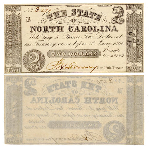 1861 $2 State of North Carolina Raleigh October 6th Cr. 22 - Crisp Uncirculated