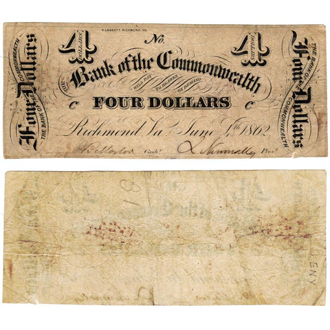 1862 $4 Bank of the Commonwealth, Virginia (Civil War Emergency Issue) - Fine