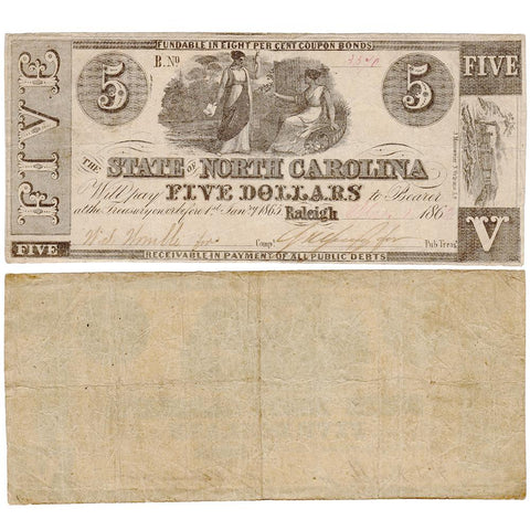 1862 $5 State of North Carolina Note - Cr. 86 - Very Fine