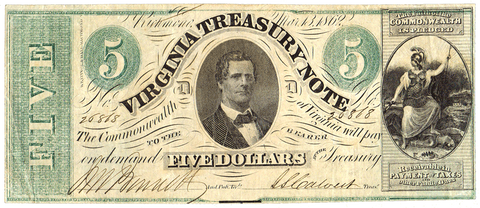 1862 $5 Virginia Treasury Note Cr.13 ~ Choice Very Fine