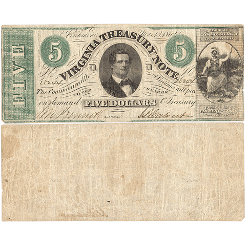 1862 $5 Virginia Treasury Note Cr.13 ~ Fine
