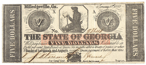 1862 $5 State of Georgia (Civil War Issue) Cr. 5 ~ Very Fine Details