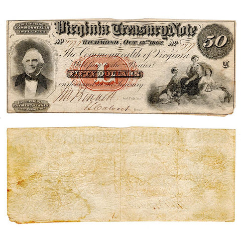 1862 $50 Virginia Treasury Note Cr.7 ~ Choice Fine