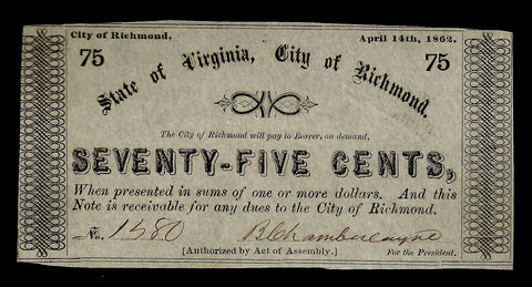 1862 75¢ City of Richmond, Virginia ~ Choice Crisp Uncirculated