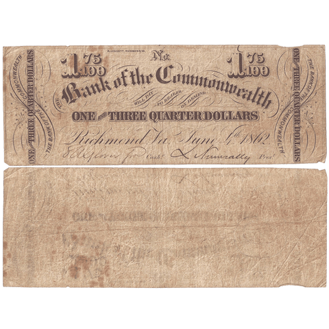 1862 $1.75 Bank of the Commonwealth, Virginia VA170-G28 - Fine