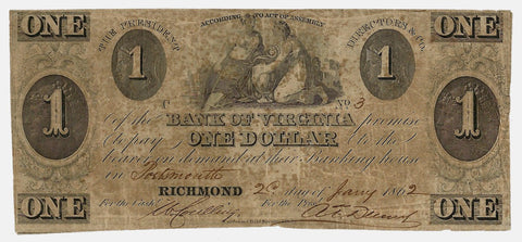 1862 Bank of Virginia (Portsmouth) $1 ~ Very Good
