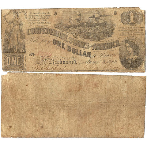 T-44 Jun. 2 1862 $1 Confederate States of America (C.S.A.) - Very Good