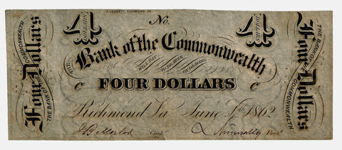 1862 $4 Bank of the Commonwealth $4 Virginia (Civil War Emergency Issue) ~ Crisp Extremely Fine
