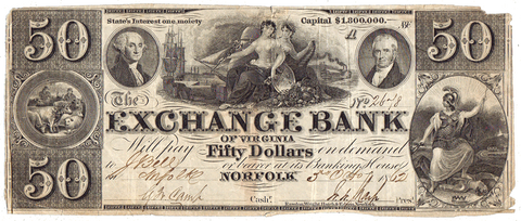 1862 $50 Exchange Bank of Virginia, Norfolk ~ VA-145-G11d ~ Net Fine