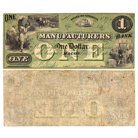 1862 $1 Manufacturers Bank Macon Georgia - Very Fine