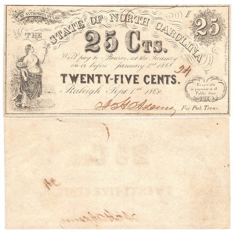1862 25¢ State of North Carolina Fractional Note - Cr. 104A - Choice Uncirculated