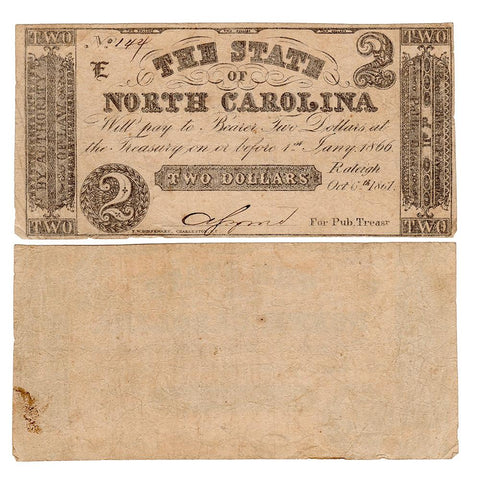 1861 $2 State of North Carolina Raleigh October 6th Cr. 22 - Fine
