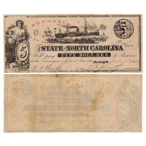1862 $5 State of North Carolina Note Cr. 87 - Very Fine