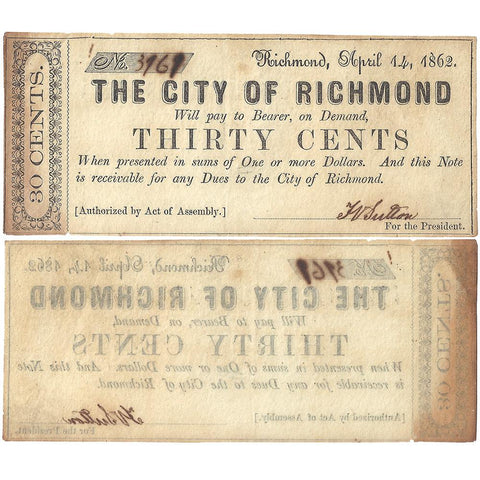1862 30¢ City of Richmond, Virginia ~ Very Fine/Extremely Fine