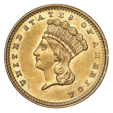 1862 Type-3 Gold Dollar - PQ Brilliant Uncirculated