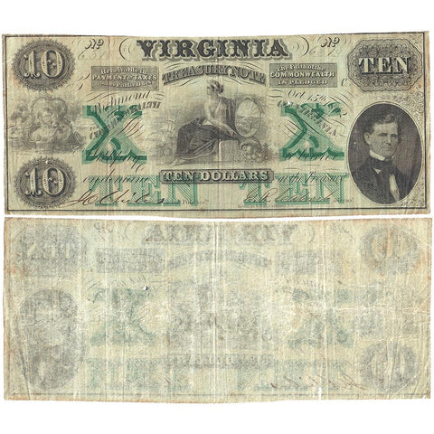 1862 $10 Virginia Treasury Note Cr.11 - Fine
