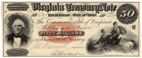 1862 $50 Virginia Treasury Note Cr.7 ~ Choice Very Fine