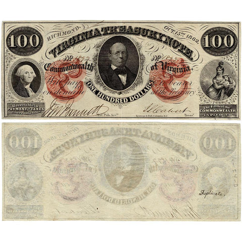 1862 $100 Virginia Treasury Note Cr.6 - About Uncirculated