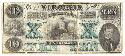 1862 $10 Virginia Treasury Note Cr.9 (Watermarked TEN) ~ Fine