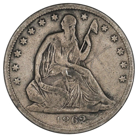 1862-S Seated Liberty Half Dollar - Fine Details
