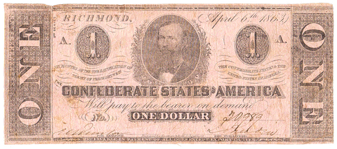 T-62 Apr. 6 1863 $1 Confederate States of America (C.S.A.) PF-10/Cr.478 ~ Fine/Very Fine
